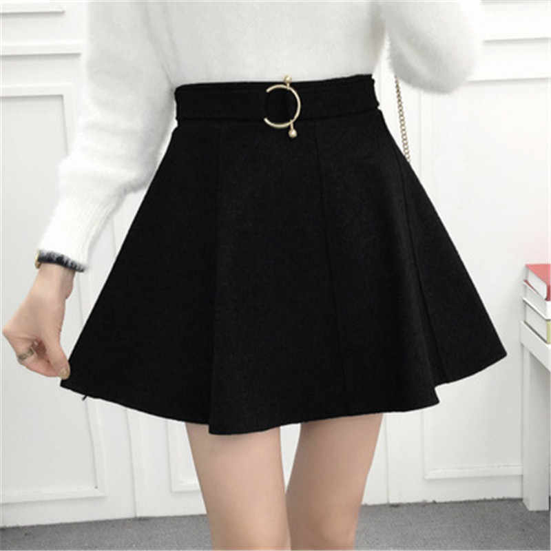 55a4fd1c448d ... 2018 autumn winter korean style pleated skirt plus size streetwear  women skirt high waist elegant office ...