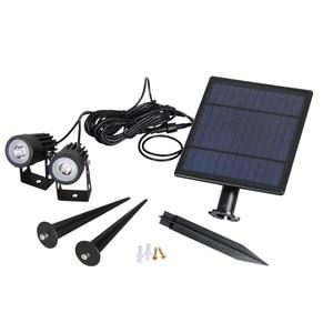 Image 4 - T SUNRISE lampa słoneczna LED zielony lampa krajobrazowa dwa reflektory z Panel słoneczny ogrodowa światło dekoracja dziedzińca IP65