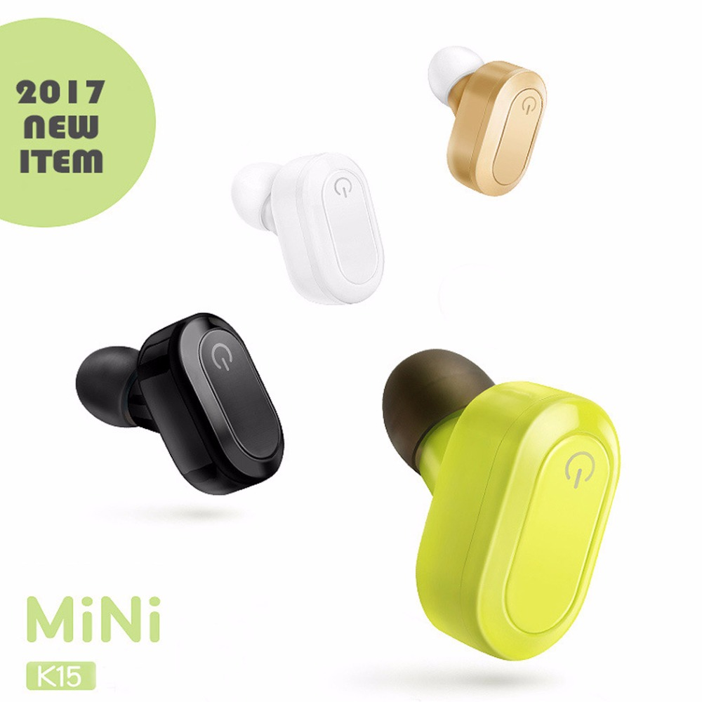 K15 mini Bluetooth headset V4.1 Noise Cancelling single ear earbuds stereo Bluetooth earphone for iPhone 7 xiaomi Huawei phones remax rb t5 bluetooth 4 1 headset wireless stereo ear hook earphone headphone for apple samsung huawei camera noise cancelling