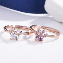 imixlot Hot Fashion Adjustable Rings Rose Gold Color Plated Cat's paw Zircon Crystal Finger Rings For Women Jewelry Wedding new fashion multilayer double color women rings plated rose gold color zircon rings jewelry for women wedding accessories gifts