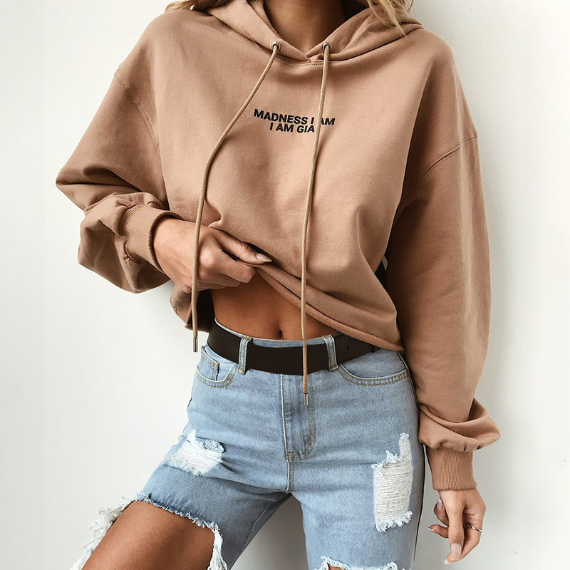 Women's New Autumn And Winter Long-sleeved Letter Print Hooded
