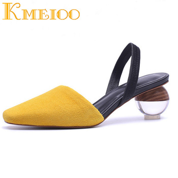 Kmeioo Women Sandals Fashion Strange Style Sandals Square Toe Wood Grain Heels Dress Evening Wedding Shoes 5CM