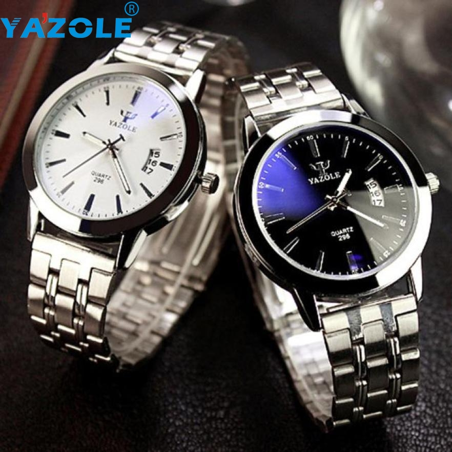 Essential YAZOLE Watches Men Waterproof Date Noctilucent Stainless Steel Glass Quartz Analog Wristwatches Bangle Bracelet 0909