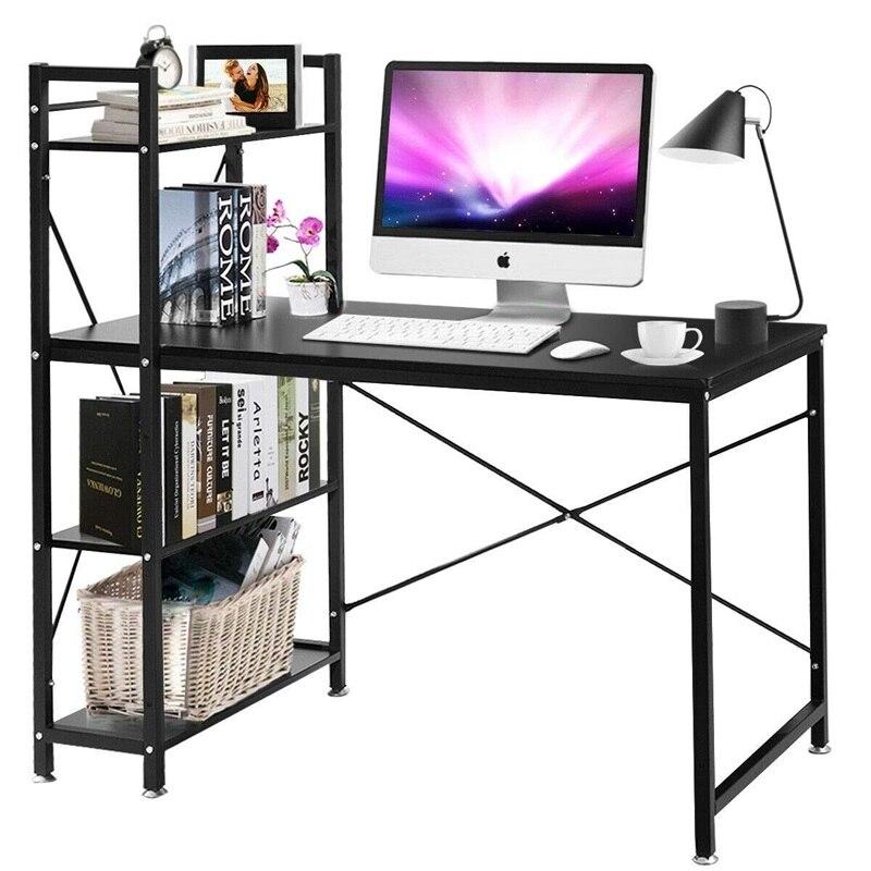 4 Tier Storage Shelves Computer Desk Black Brown Home Office MDF Iron Tube Computer Study Desks HW53789