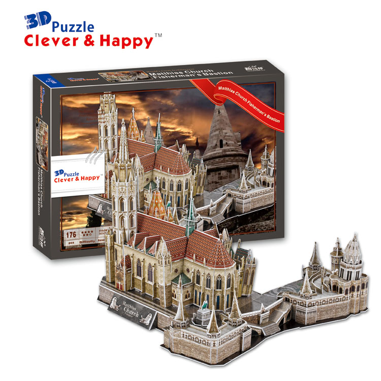 new clever&happy land 3d puzzle model Matthias Church Fisherman's Bastion large adult puzzle diy gift games for children paper