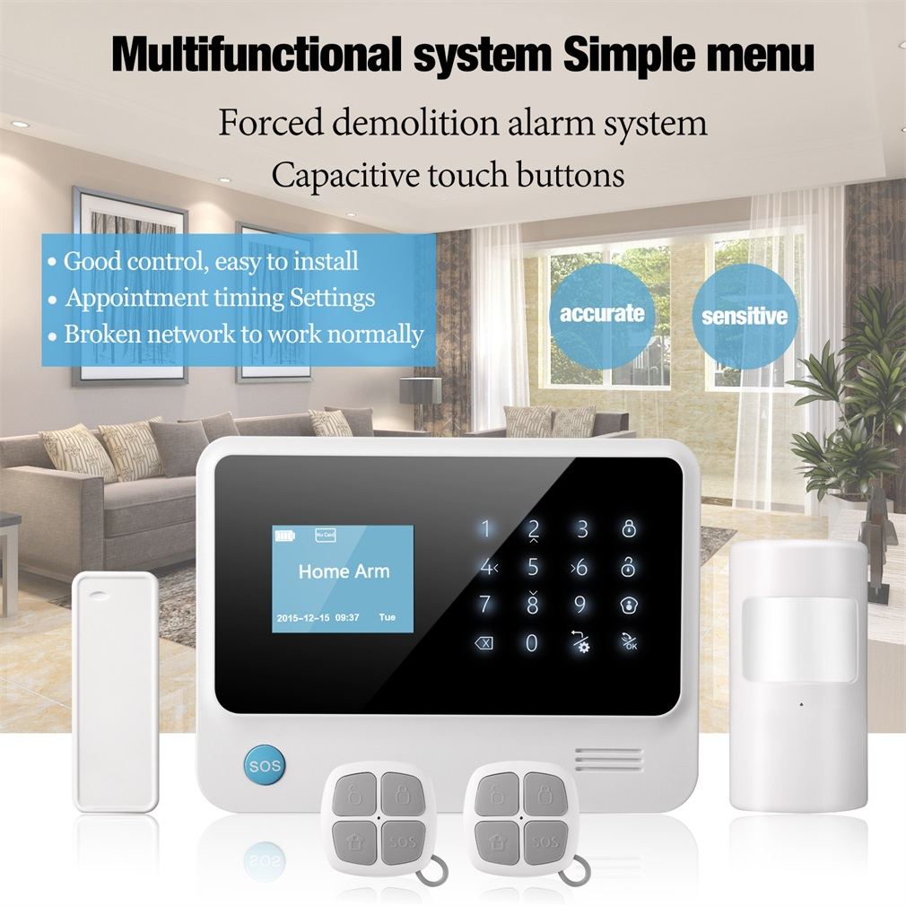 WIFI+GSM+GPRS Word Menu Home Security Alarm System Support Monitoring And Two-way Intercom Function Build-in Wifi TransmitterWIFI+GSM+GPRS Word Menu Home Security Alarm System Support Monitoring And Two-way Intercom Function Build-in Wifi Transmitter