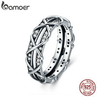 BAMOER Authentic 925 Sterling Silver Luminous CZ Intertwine Cocktail Finger Ring For Women Engagement Wedding Jewelry
