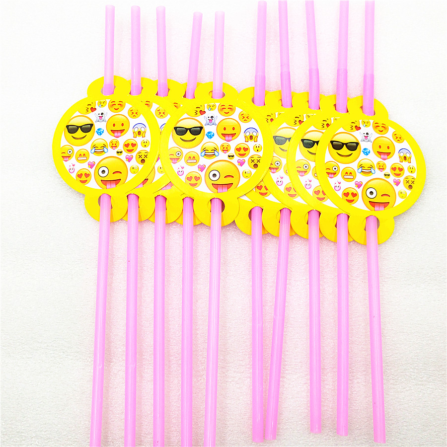 10pcs/lot Emoji Smile Cry Party Supplies Kids Birthday party decoration drinking straws baby shower party Decoration favors