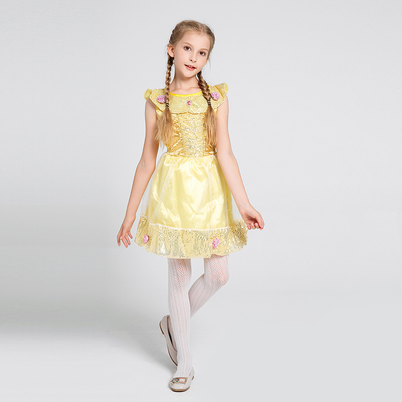 Sparkle Girls Golden Belle Ballerina Halloween Cosplay Costume