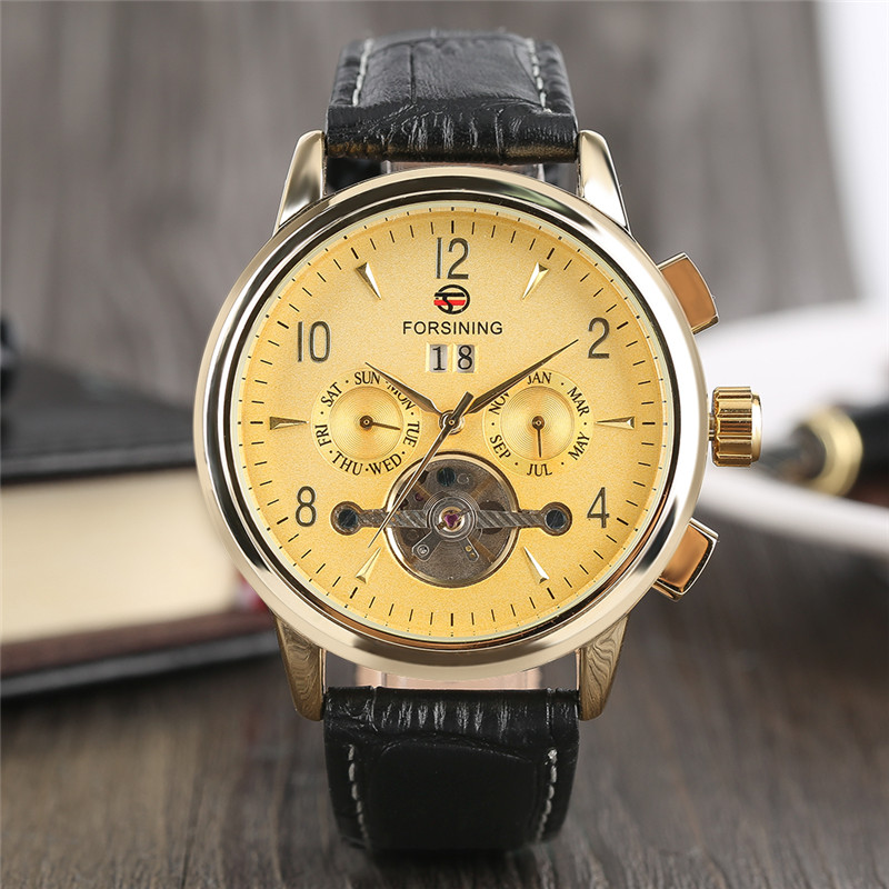 FORSINING High Quality Automatic Self-Wind Mechanical Men Wristwatch Calendar Design Dial Genuine Leather Band Luxury Watch Gift luxury cool high quality automatic self wind skeleton hollow dial mechanical watch with leather strap gift to men