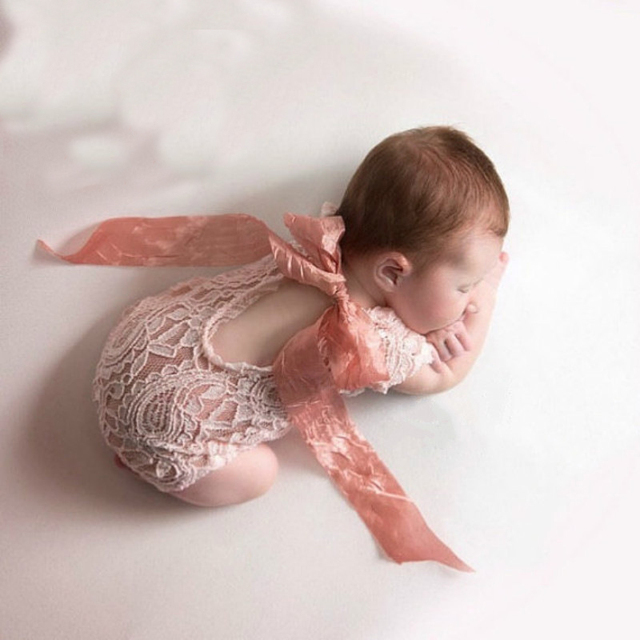 Newborn photography props embroidery lace baby romper jumpsuit newborn photo shoot accessories silk girl costumes for