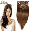 Brown peruano clipe reta em extensões do cabelo humano Remy grampo na extensão do cabelo Rosa produtos de cabelo extensões de cabelo clipe 10 Pcs