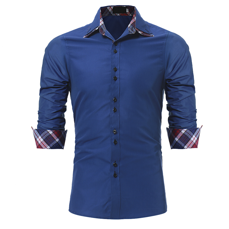 Brand 2018 Fashion Male Shirt Long-Sleeves Tops Classic Inner Village Color Grid Casual  Mens Dress Shirts Slim Men Shirt