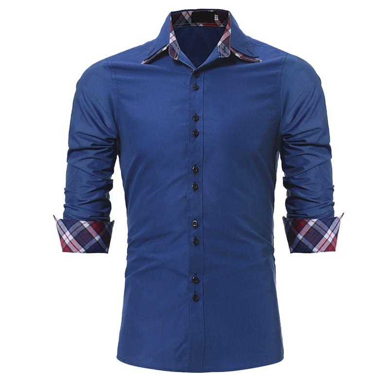 Herrenbekleidung & Zubehör Trendmarkierung Marke 2018 Mode Männlichen Shirt Mit Langen Ärmeln Tops Klassischen Innen Dorf Farbraster Beiläufige Menssmokinghemde Slim Männer Hemd