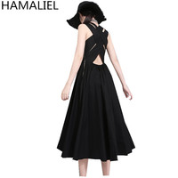 HAMALIEL New Fashion Black Ball Gown Women Dress 2018 Summer Sexy Backless Overlapping Hollow Out Casual Vest Party Dress