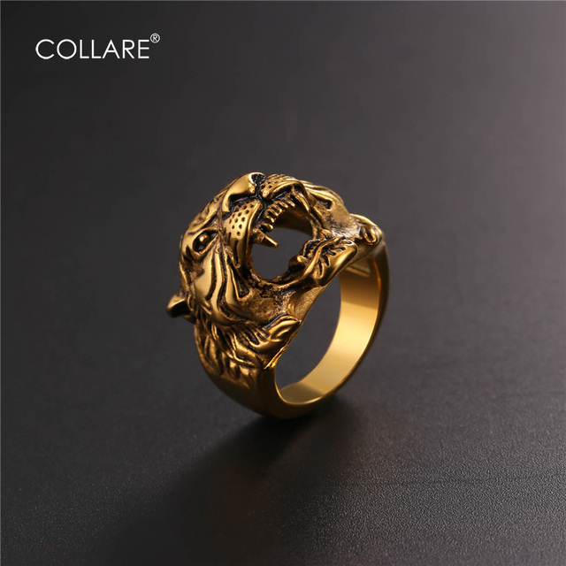 gothic punk biker rings titanium steel tiger color ring head lychee item gold jewelry silver
