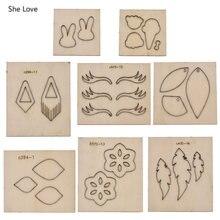 Chzimade-boucles d'oreilles, 8 Styles de feuilles, motif de fleur, moule de découpe du cuir, matrices en bois, bricolage, artisanat, acier, poinçon, matrices de découpe