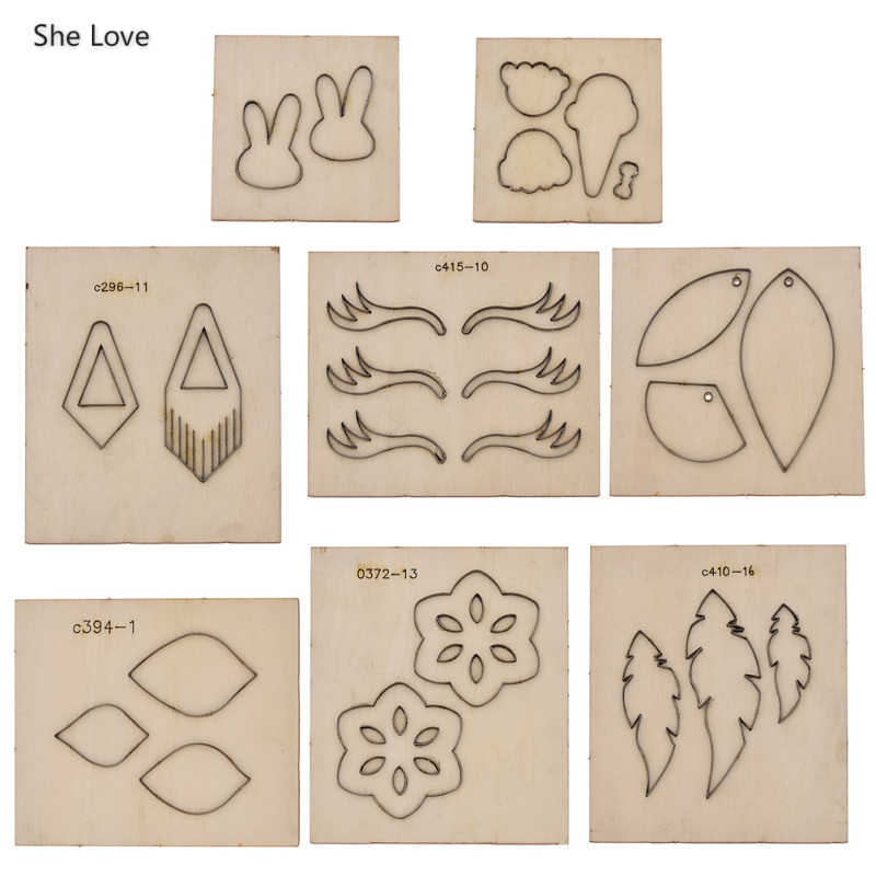 She Love 8 Styles Leaf Drop Earring Flower Pattern Leather Cutting Mold Wood Dies Diy Leather Cutter Crafts Steel Punch Cut Dies