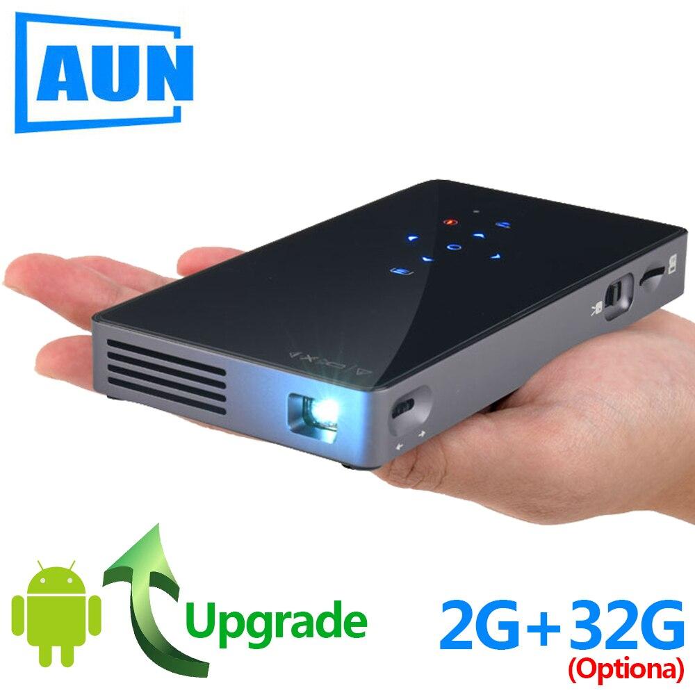 AUN MINI Projetor D5S, o Android 7.1 (Opcional 2G + 32G) WIFI Bluetooth, portátil LED Projetor, 1080P Suporte, companheiro de Viagem Beamer