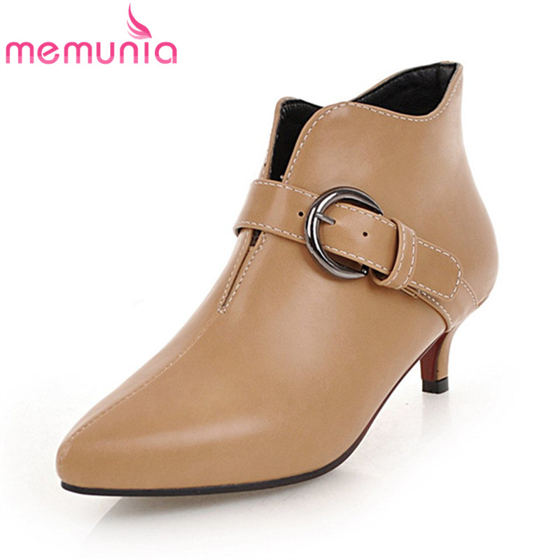 MEMUNIA NEW 2018 arrival women brand boots pointed toe buckle women's ankle boots elegant 4cm thin heels boots wholesale