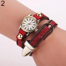 Hot Sales Women's Peacock Literal Dial Rhinestone Rivet Wrap Bracelet Quartz Wrist Watch
