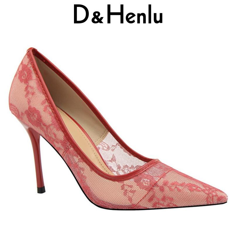{D&Henlu} Wedding Shoe Lace High Heels Hollowed Heels Bridal Shoes White Shoes Woman High Heel Wedding Pumps Pointed Toe Pumps sequined high heel stilettos wedding bridal pumps shoes womens pointed toe 12cm high heel slip on sequins wedding shoes pumps