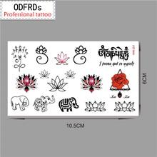 Rro Small Fresh Waterproof Temporary Tattoo Tatoo Henna Fake Flash Tattoo Stickers Taty Tatto Lotus Elephant