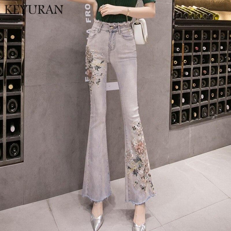 Femmes Jeans élastique taille haute 3D fleur broderie Appliques perles Long pantalon dames décontracté Denim Skinny Jeans Flare pantalon