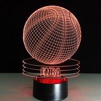 Novelty 3D Visual Acrylic LED Night Light NBA Basketball USB Lighting Bedroom Table Lamp Colorful Gradient