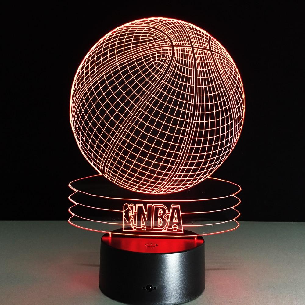 novelty 3d visual acrylic led night light nba basketball. Black Bedroom Furniture Sets. Home Design Ideas