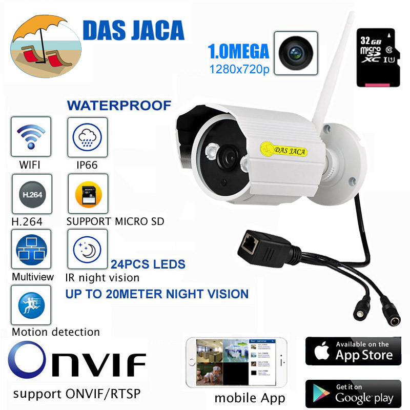 DasJaca 1mp Outdoor Waterproof onvif CCTV security Camera 720p hd wifi Infrared Night Vision Bullet Camera 32GB video camera ip wistino cctv camera metal housing outdoor use waterproof bullet casing for ip camera hot sale white color cover case