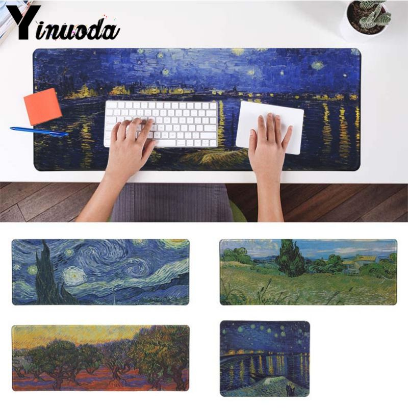 Yinuoda Van Gogh Starry Night Laptop Gaming Mice Mousepad Size for 30x90cm and 40x90cm Gaming Mousepads