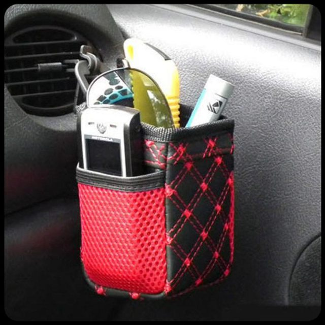 LASPERAL Red Wine Car With Net Pocket Mobile Phone Pocket Outlet Sundry Barrel Finishing Storage Bag & LASPERAL Red Wine Car With Net Pocket Mobile Phone Pocket Outlet ...