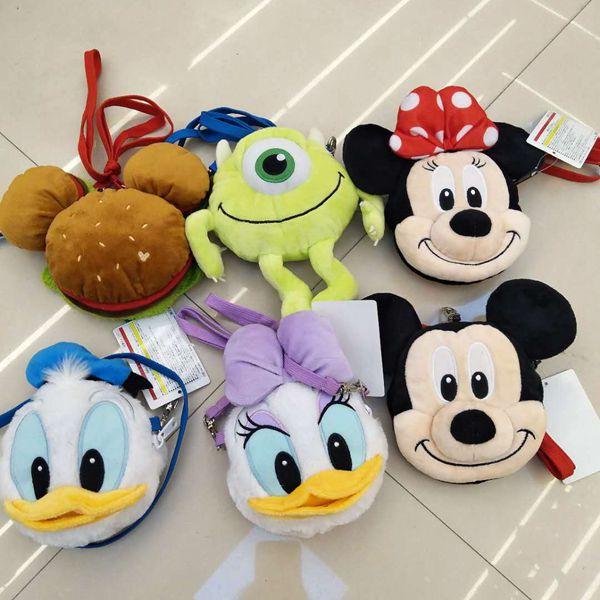 13 cm Mickey Mouse Minnie girls plush toys Stitch cute boy Cross body Bag Purse Kids Birthday Gift mickey mouse body parts