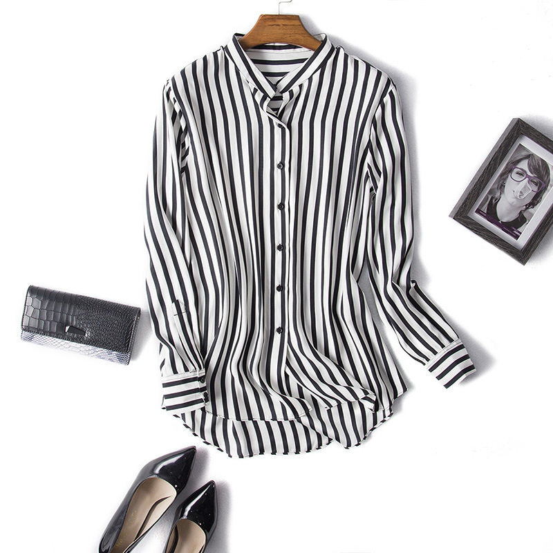 Striped shirt women black and white silk long sleeve for Black and white striped long sleeve shirt women