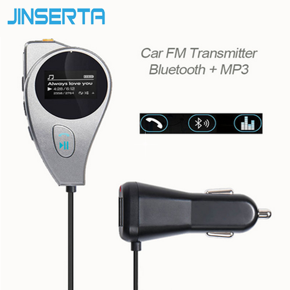 JINSERTA Bluetooth Car Kit Wireless FM Transmitter AUX Port FM Modulator Handsfree Music MP3 Player Dual USB Charger LED Display