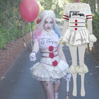 Cosplaydiy Custom Made New Stephen King's It Pennywise Cosplay Costume Scary Joker Women Version Suit Costume L320