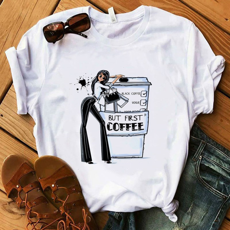 Coffee T Shirt Fashion Lady Cute Pet Pig T-Shirt Women Summer Short Tops Girl Hipster T-shirts