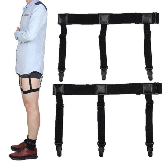 6442eda230835 Ajustable camisa titular queda elástico para hombres Tirantes Caballero  pierna soportes de negocios Tirantes uniforme Suspender