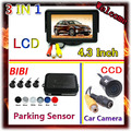 4.3 Inch Display TFT Color LCD Monitor Car Reverse Rear View camera For Car Parking 4 Sensor 7 Color Probes Choose,Free Shipping