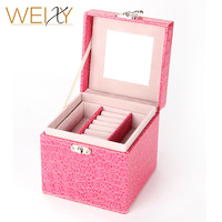 2017 New Luxurious PU Leather Large Jewelry Box Organizer Casket Jewelry Storage Boxes Ring Earrings