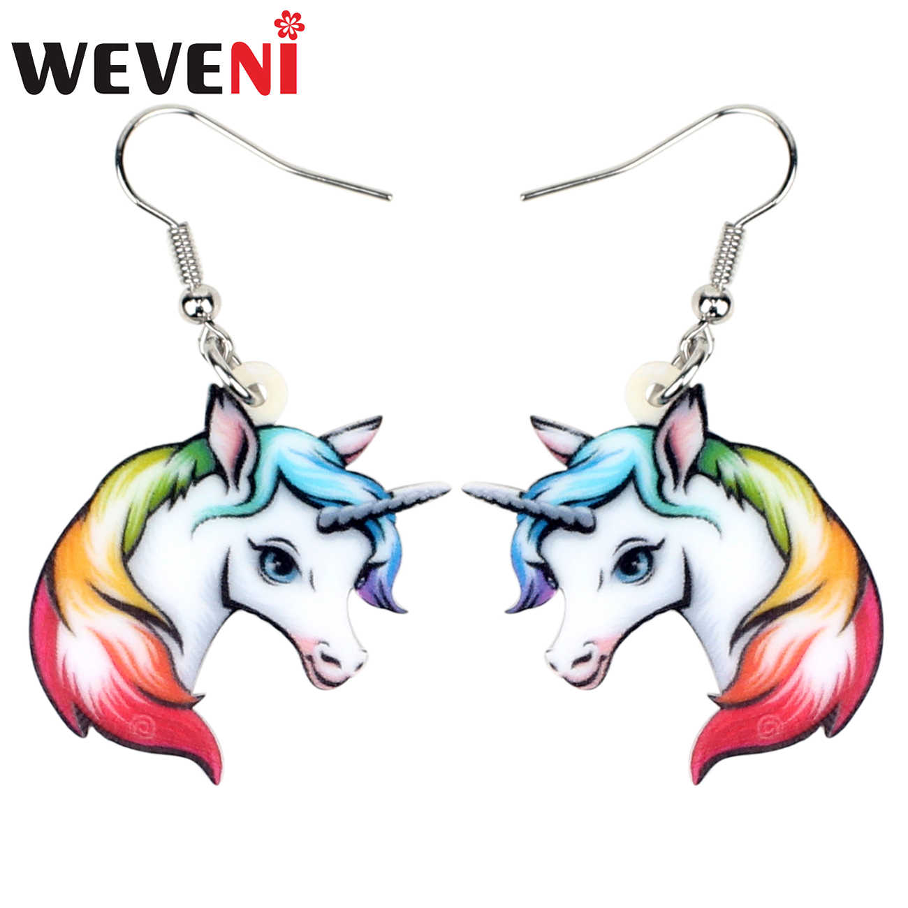 WEVENI Acrylic Anime Rainbow Unicorn Head Earrings Drop Dangle Fashion Animal Jewelry For Women Girls Teen Gift Charms Wholesale