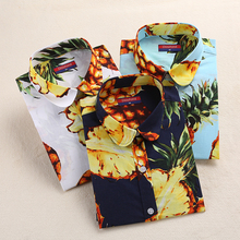 Women Blouse Fashion Casual Printing Tops Regular Fit Plus Size Women Clothing Print cherries Blouses Long Sleeves Women Clothes
