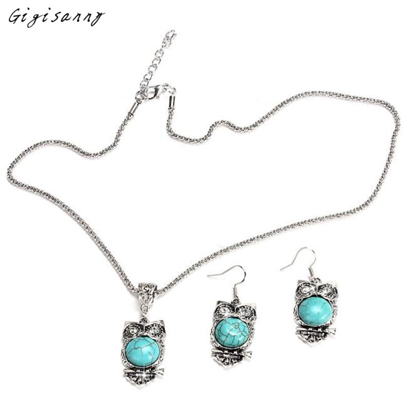 Gigisanny 2016 New Design Women Owl Green Turquoise Chunky Pendant Necklace Earrings Jewelry Set Free Shipping,Oct 24