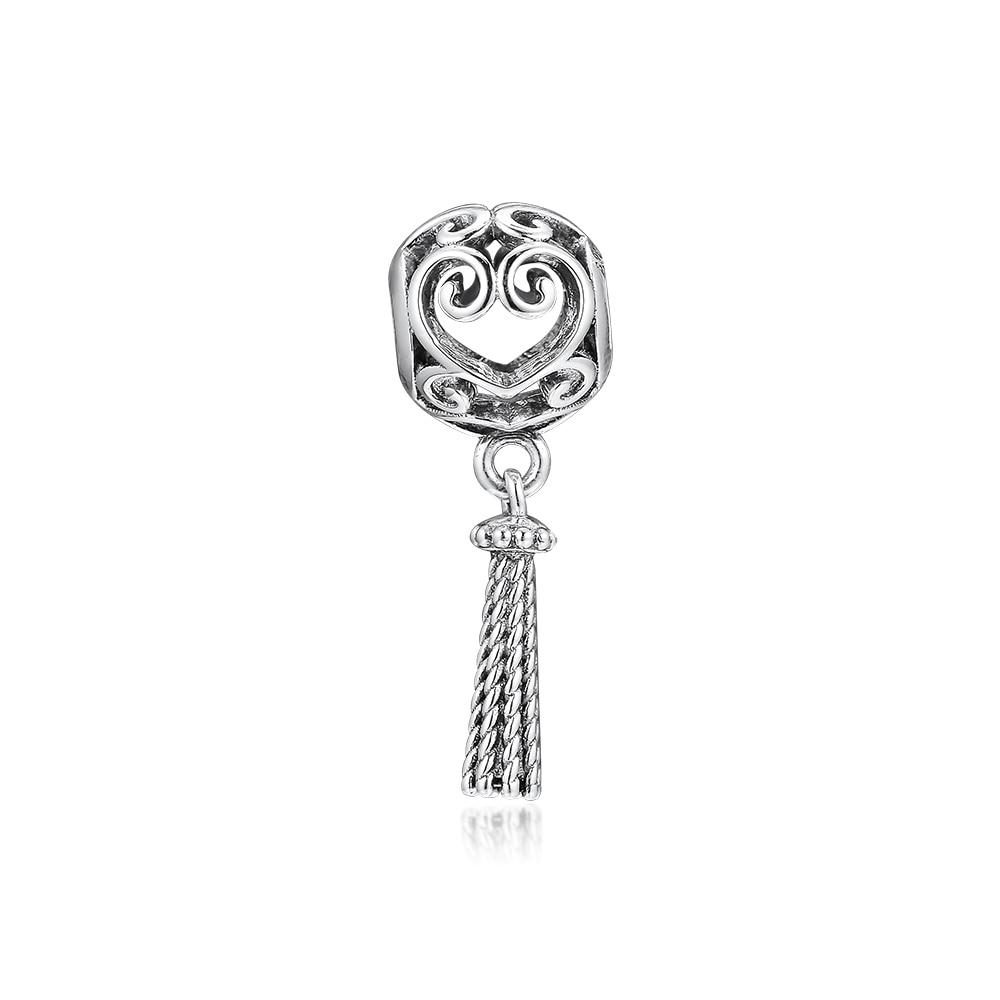 ckk fits pandora bracelets 925 sterling silver enchanted heart tassel charm beads for jewelry