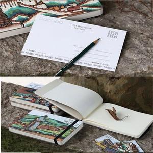 Image 4 - ランダムな色文房具木製 A5 ノートブックスケッチブック空白メモ帳水彩紙学校ギフト用品ヴィンテージブック