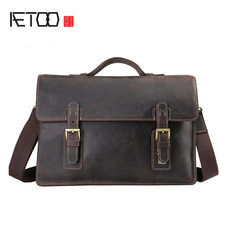 AETOO Retro British first layer oblique cross package mad horse leather briefcase 14 inch computer bag leather business men bag aetoo first layer of leather foreign trade shoulder oblique cross package leather square notebook handbag business briefcase men