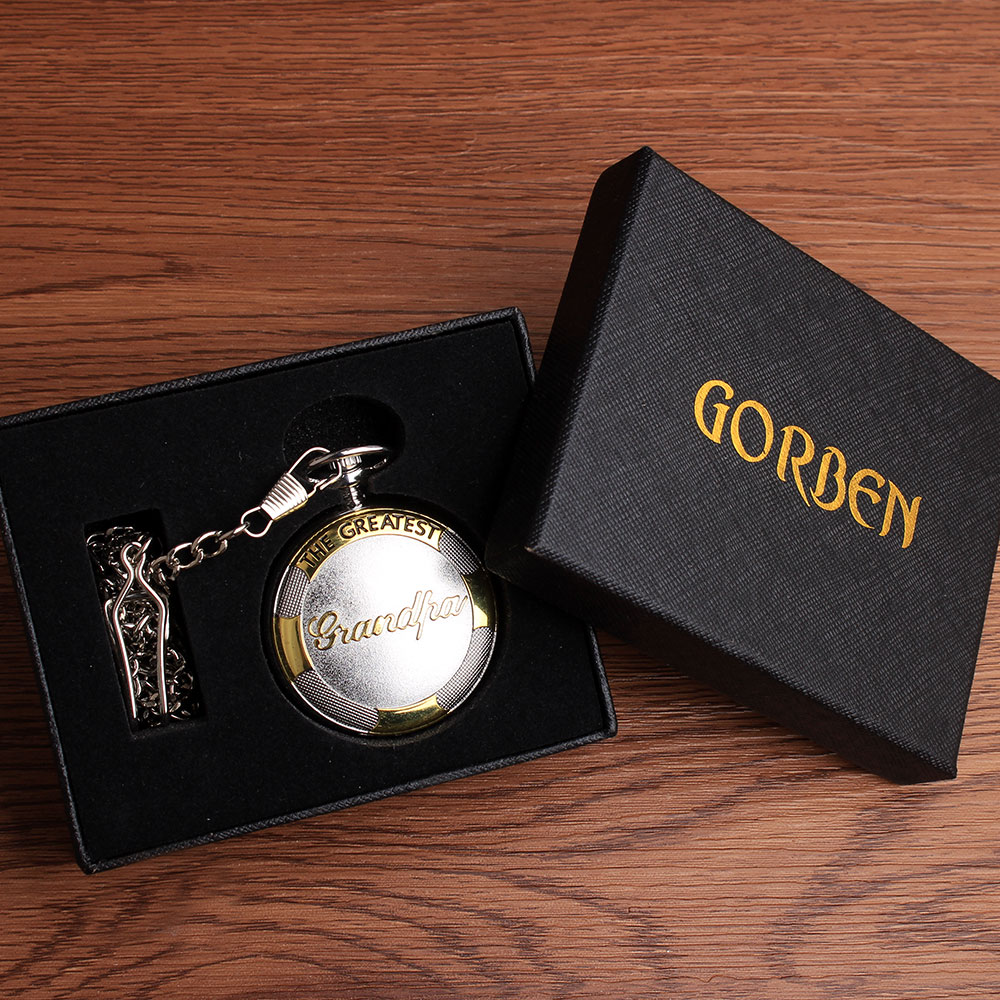 Luxury Quartz Gold Silver pocket watch necklace with box THE GREATEST grandpa Pocket FOB Watches Relogio De Bolso Gifts Sets new relogio de bolso carving wolf vintage quartz pocket fob watches pendent chain men women gifts