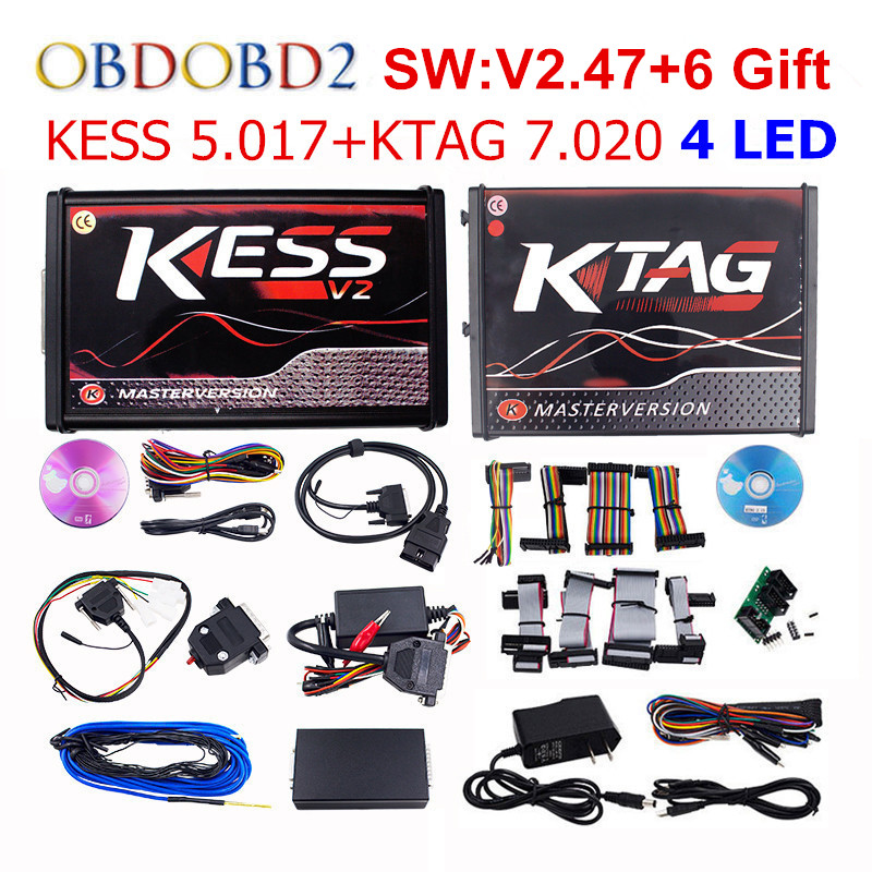 Online Maestro V5.017 V2.47 + KTAG KESS V7.020 V2.23 Senza Gettoni Limitare KESS 5.017 + K-TAG K Tag 7.020 4 LED ECU Programmatore DHL spedizione