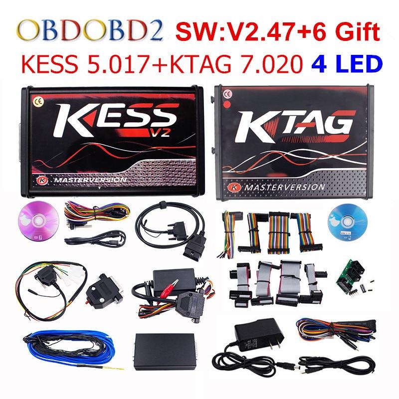 Online Master KESS V5.017 V2.47 + KTAG V7.020 V2.23 Kein Tokens Begrenzung KESS 5,017 + K-TAG K Tag 7,020 4 LED ECU Programmierer DHL freies